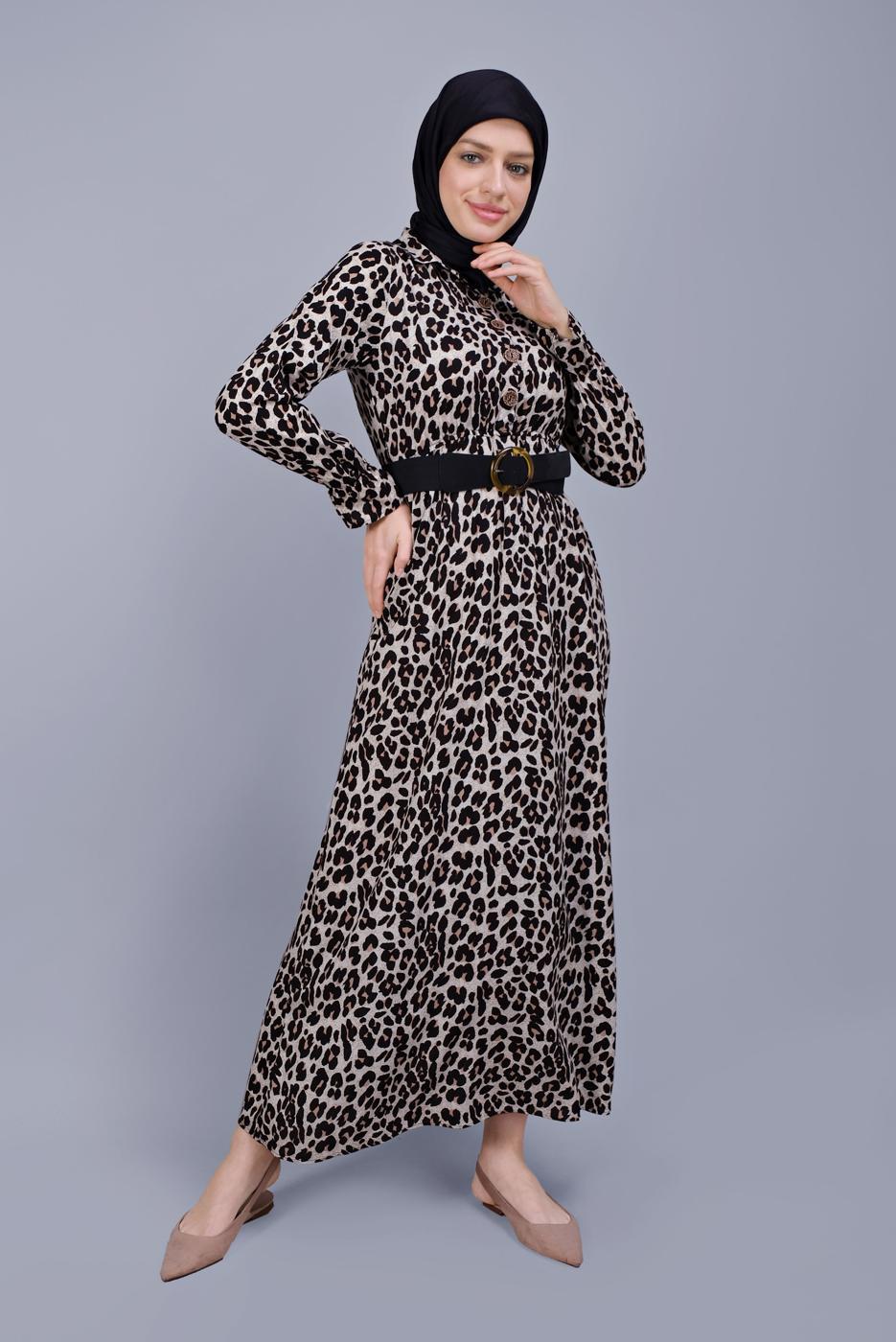 Female BEIGE LEOPARD PRINT DRESS  0425