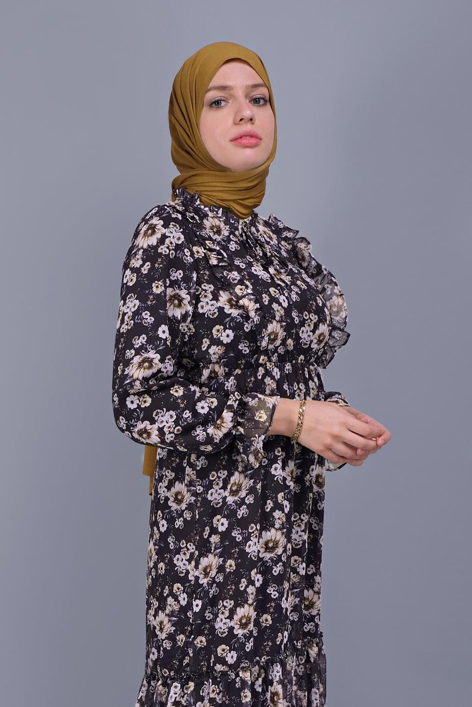 Female BLACK FLORAL DRESS 832