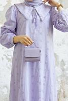 Female PURPLE ROUND COLLAR DRESS 8900