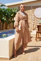 Female MINK DOUBLE BREASTED BELTED 2-PIECE SUIT WITH PANTS 55000