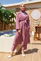 Female PINK DOUBLE BREASTED BELTED 2-PIECE SUIT WITH PANTS 55000