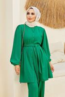 Female GREEN BELTED BUTTONED SUIT WITH PANTS 5010