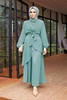 Female GREEN ASYMMETRIC CUT BELTED SUIT WITH PANTS 9700