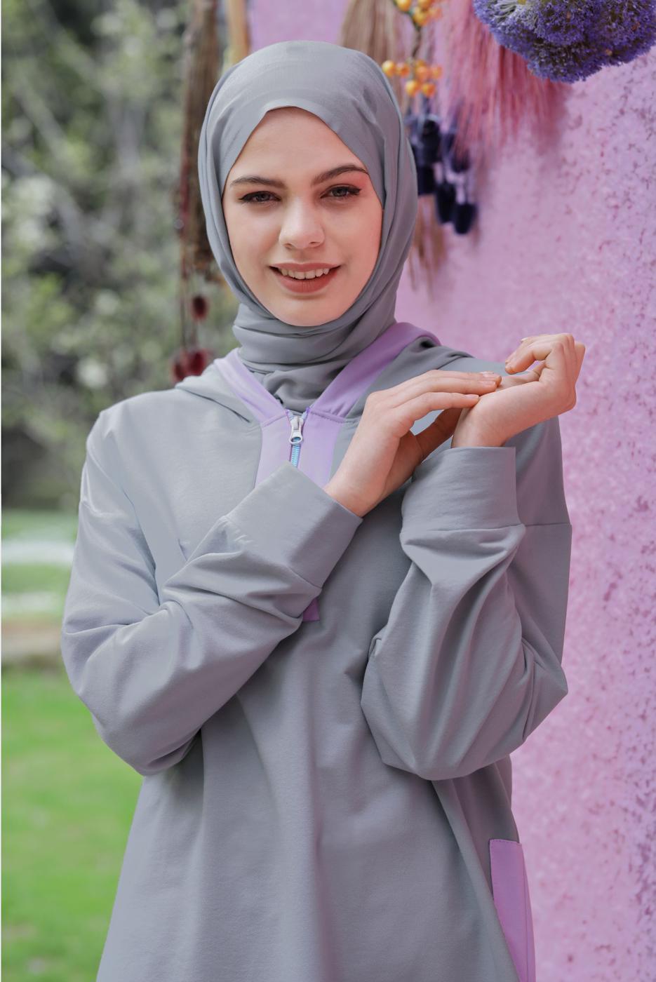 Bayan GRİ FERMUARLI KAPÜŞONLU TUNİK  63012