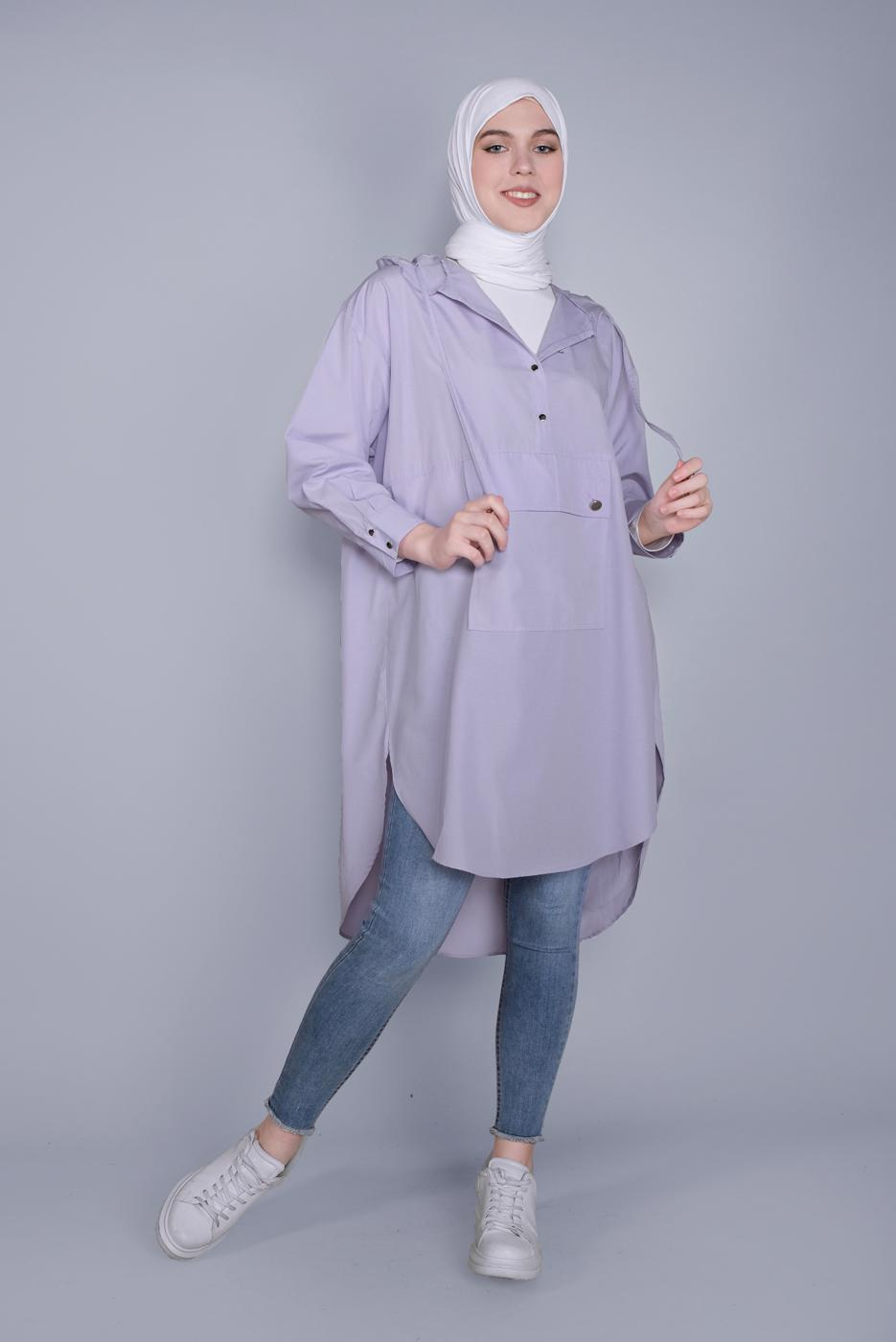 Female PURPLE HOODED TUNIC WITH POCKETS  01112
