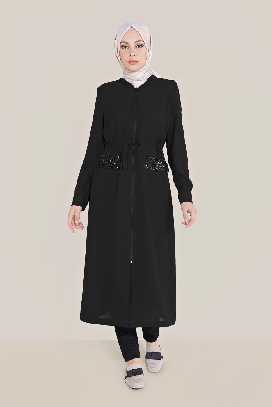 Female BLACK ALVİNA POCKET TRENCH COAT 10227