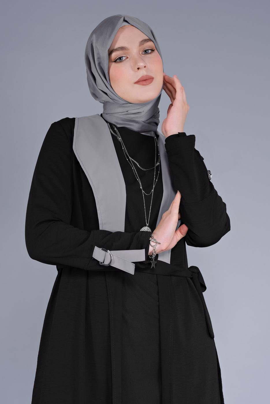 Bayan SİYAH KUŞAKLI İKİ RENKLİ TRENÇKOT 6365