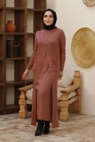 Female PINK BUTTONED PATTERNED 2-PIECE DRESS T 10004-1