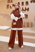 Female CLARET RED BASIC TIMELESS 2-PIECE PANTS SUIT WITH SWEATER 0304
