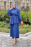 Female BLUE BELTED 2-PIECE SUIT WITH PANTS 4020