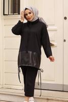 Female BLACK PANTS SUIT WITH SMOCKING HEM 5107