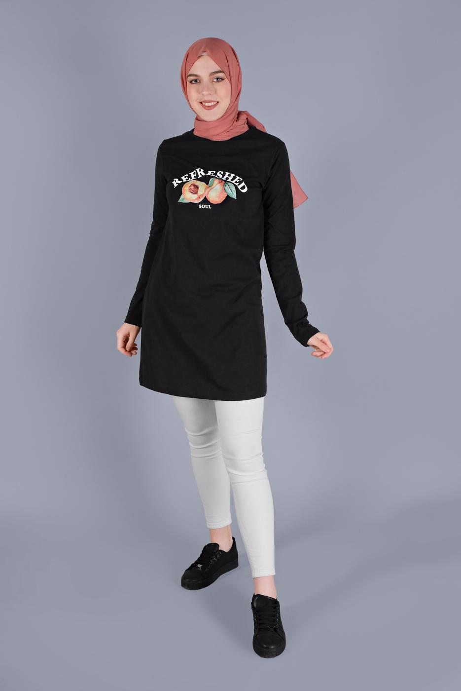 Female BLACK COTTON TUNIC  8206