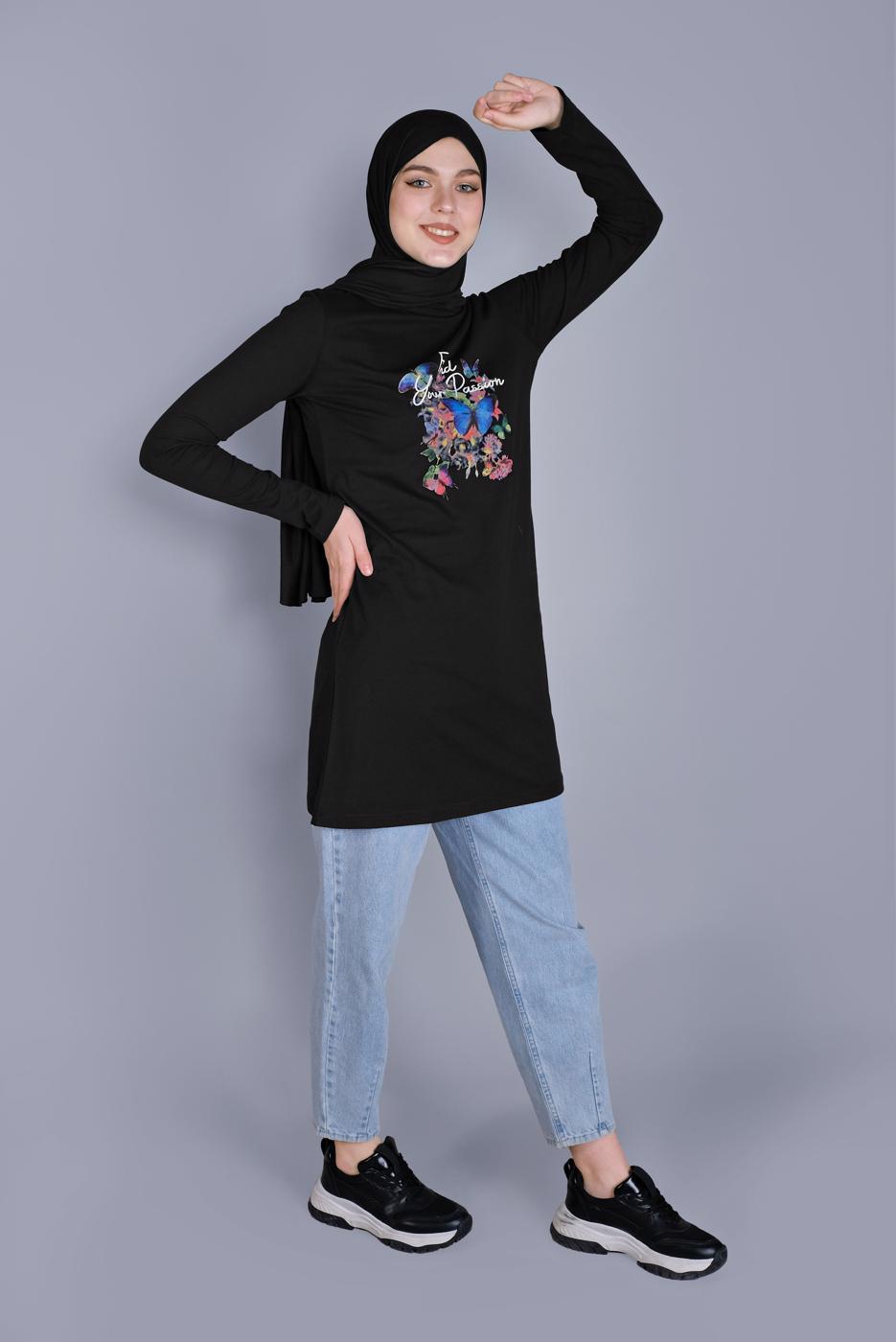 Bayan SİYAH MİX DESENLİ PAMUKLU TUNİK 9206