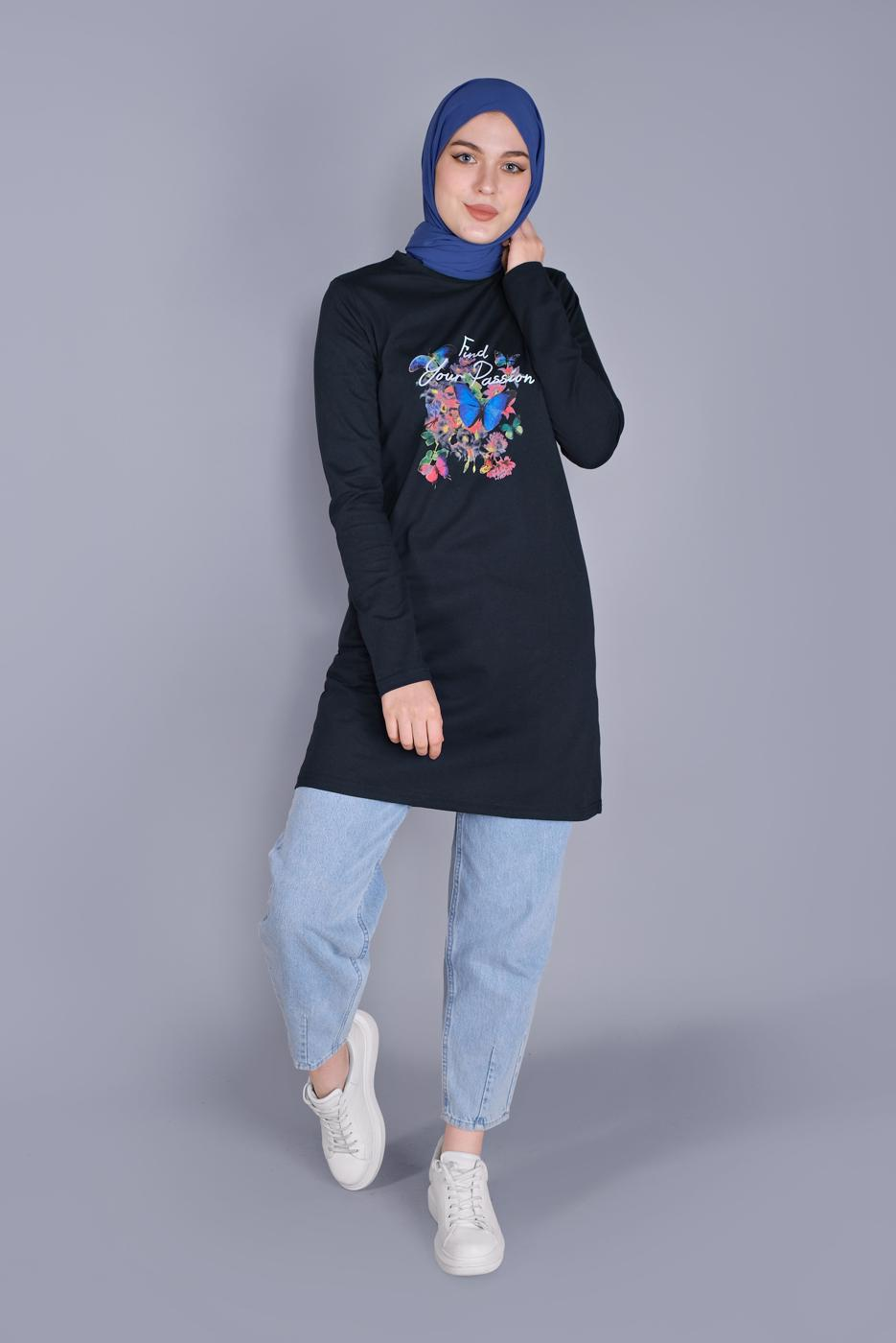 Bayan LACİVERT MİX DESENLİ PAMUKLU TUNİK 9206